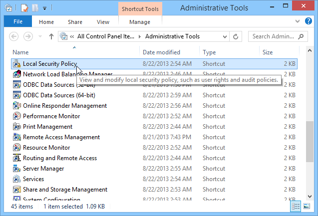 Windows 8.1 Local Security Policy