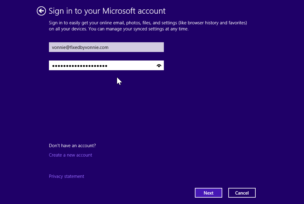 Create a Microsoft account in Windows 8.1