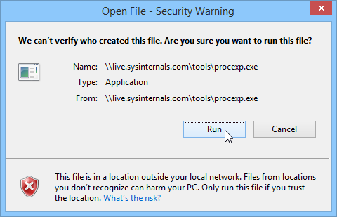 Windows 8.1 Security Warning Box