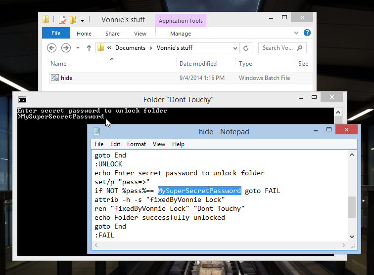 Unlocking the locked folder in Windows 8.1