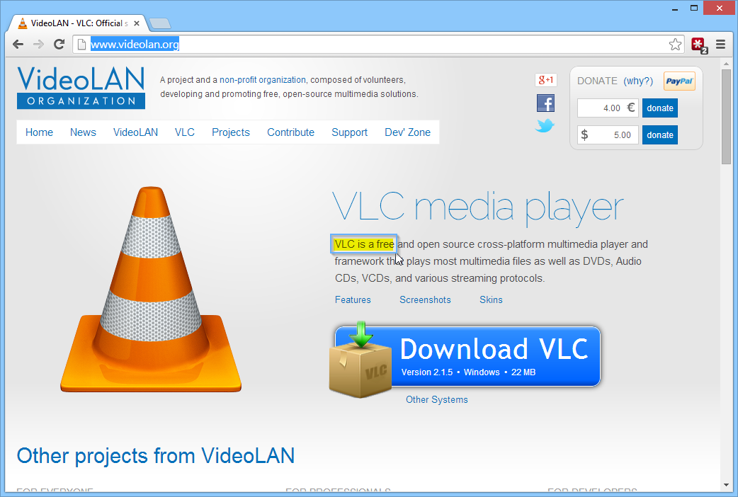VLC Player is Free