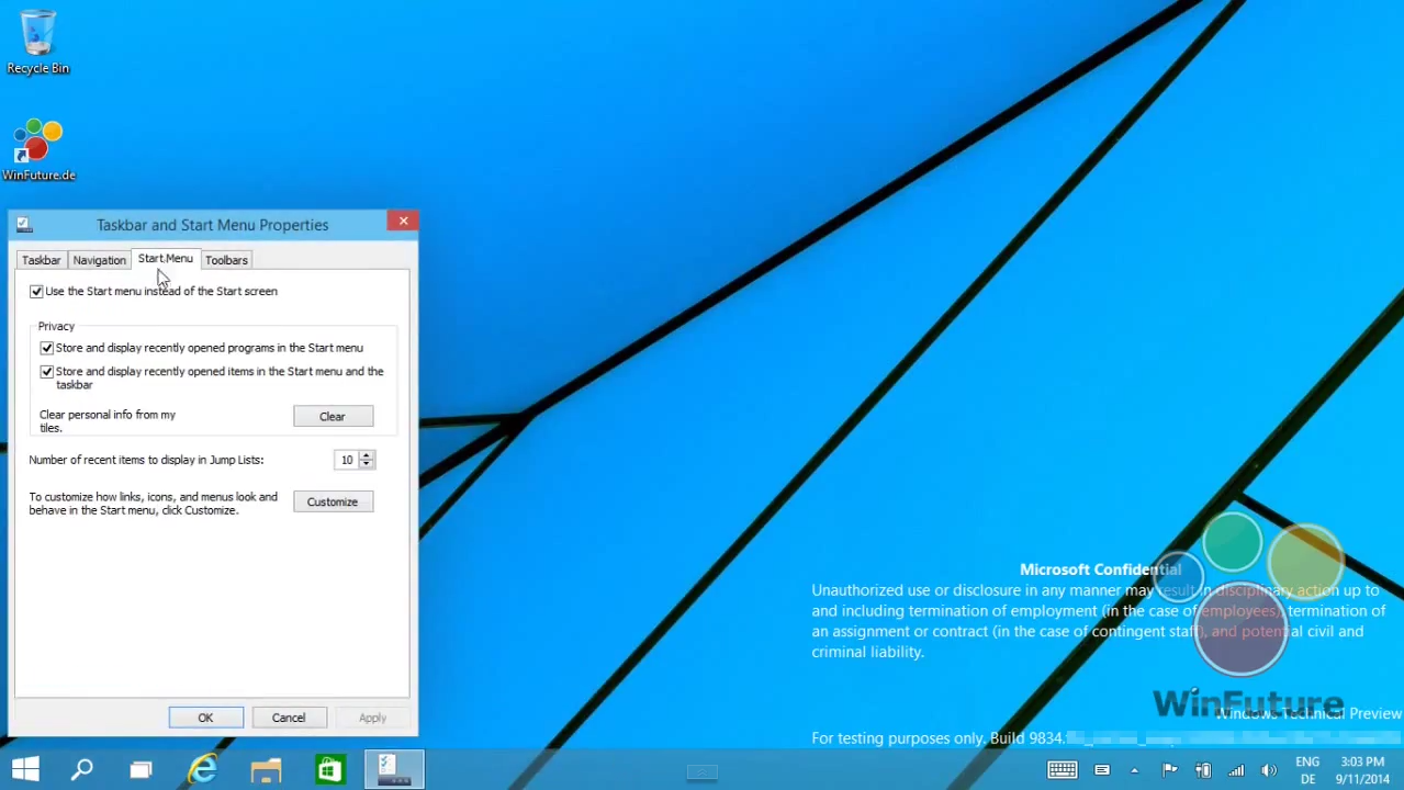 New Start Menu options in Windows 9 Threshold