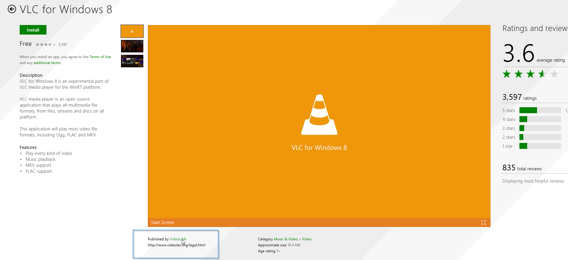 The Real VLC Player App in the Windows Store