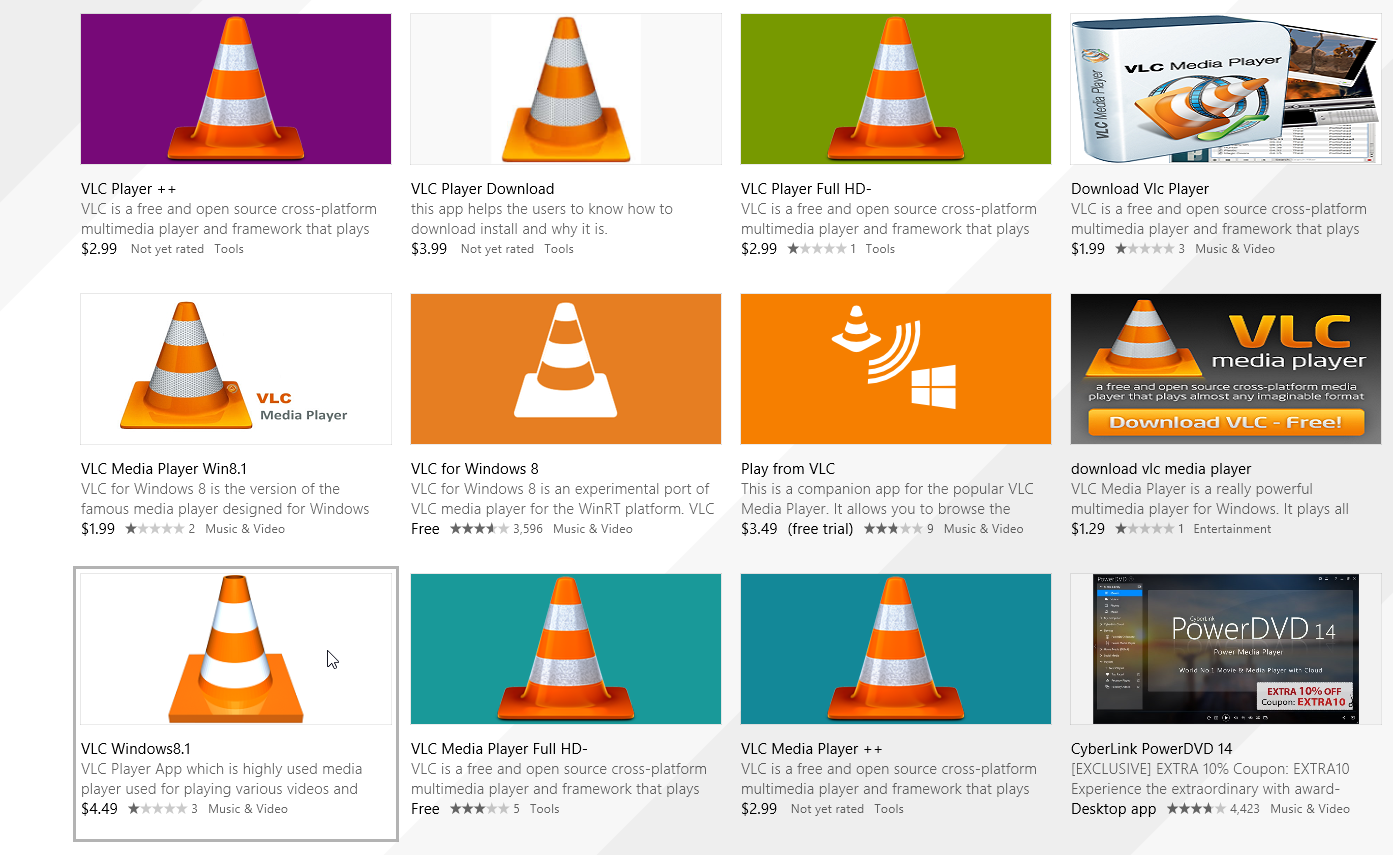 VLC Player app not free in Windows Store