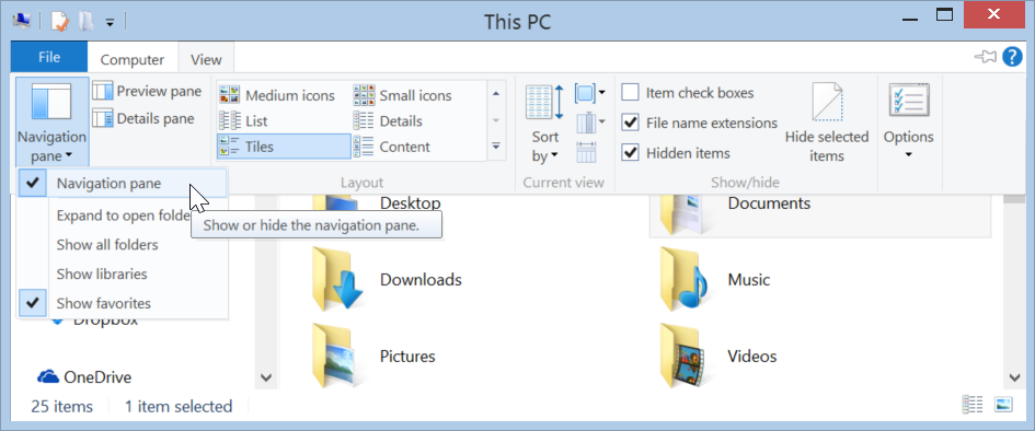 Showing and hiding the navigation pane in Windows 8.1