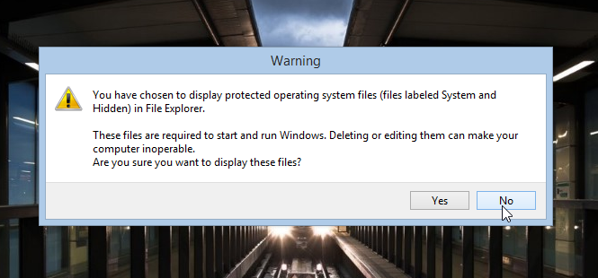 You have chosen to display protected operating system files