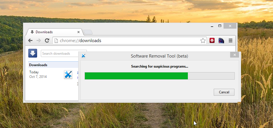 Google Chrome Software Removal Tool Scanning for Suspicious Programs