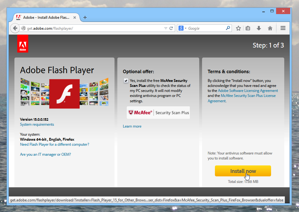 Trying to install Adobe Flash Player