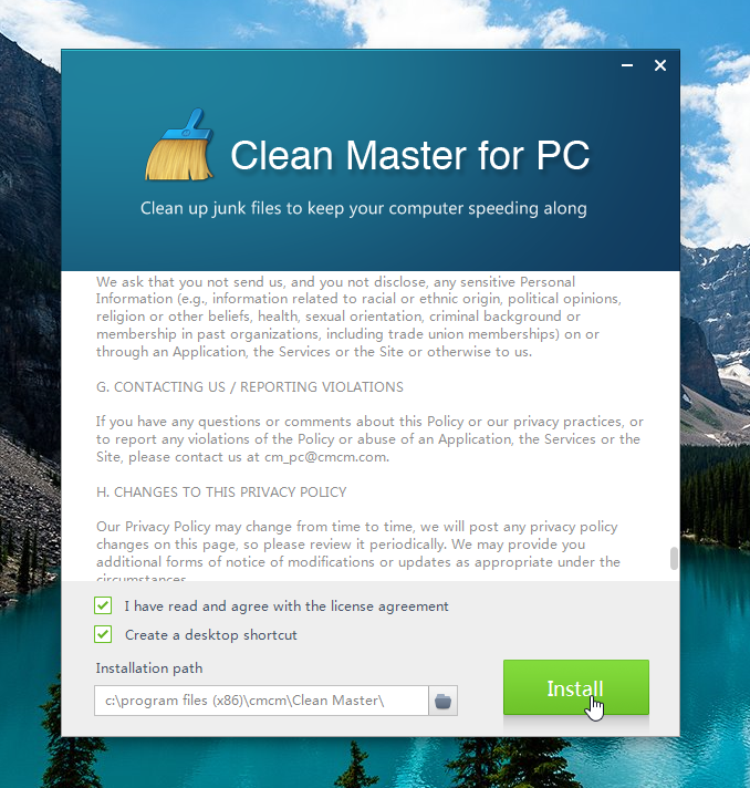 Installing Clean Master for PC