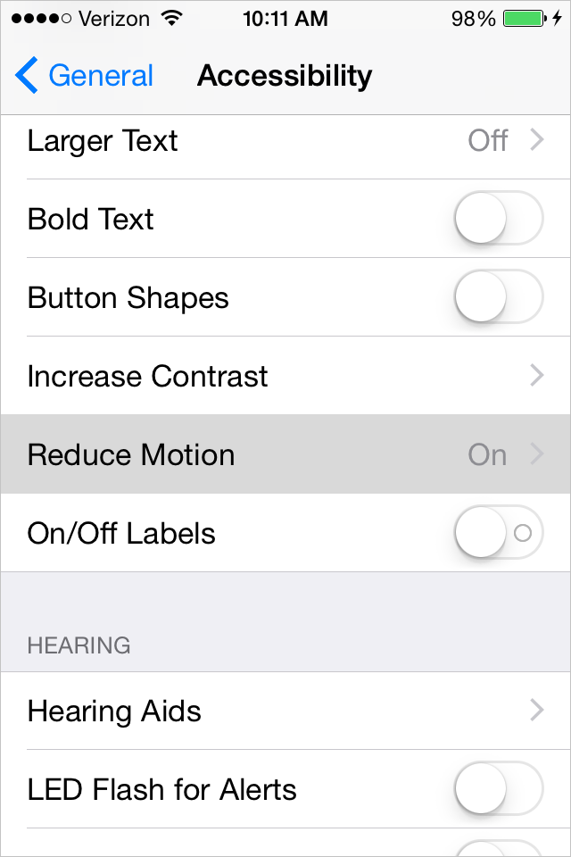 Disable parallax by disabling Reduce Motion in iOS8
