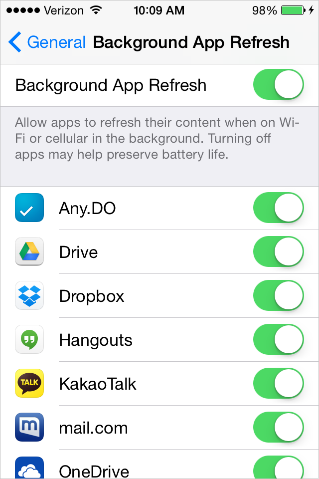 Disable background app refresh in iOS8