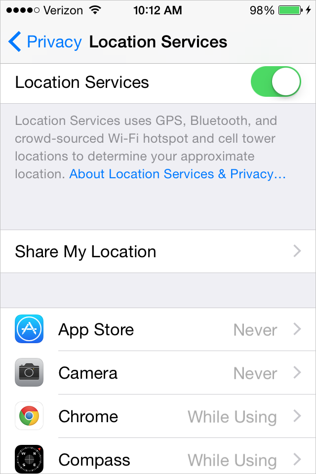 Disable location services in iOS8