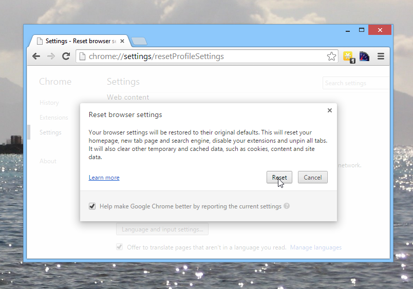 Reset browser settings in Chrome