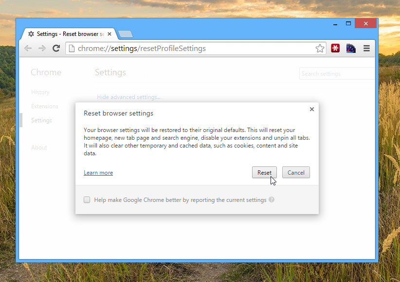 Reset Google Chrome Settings