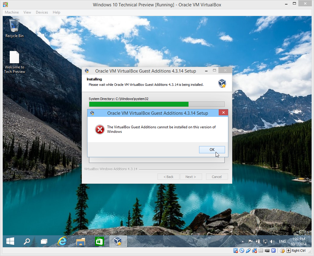 The VirtualBox Guest Additions cannot be installed on this version of Windows