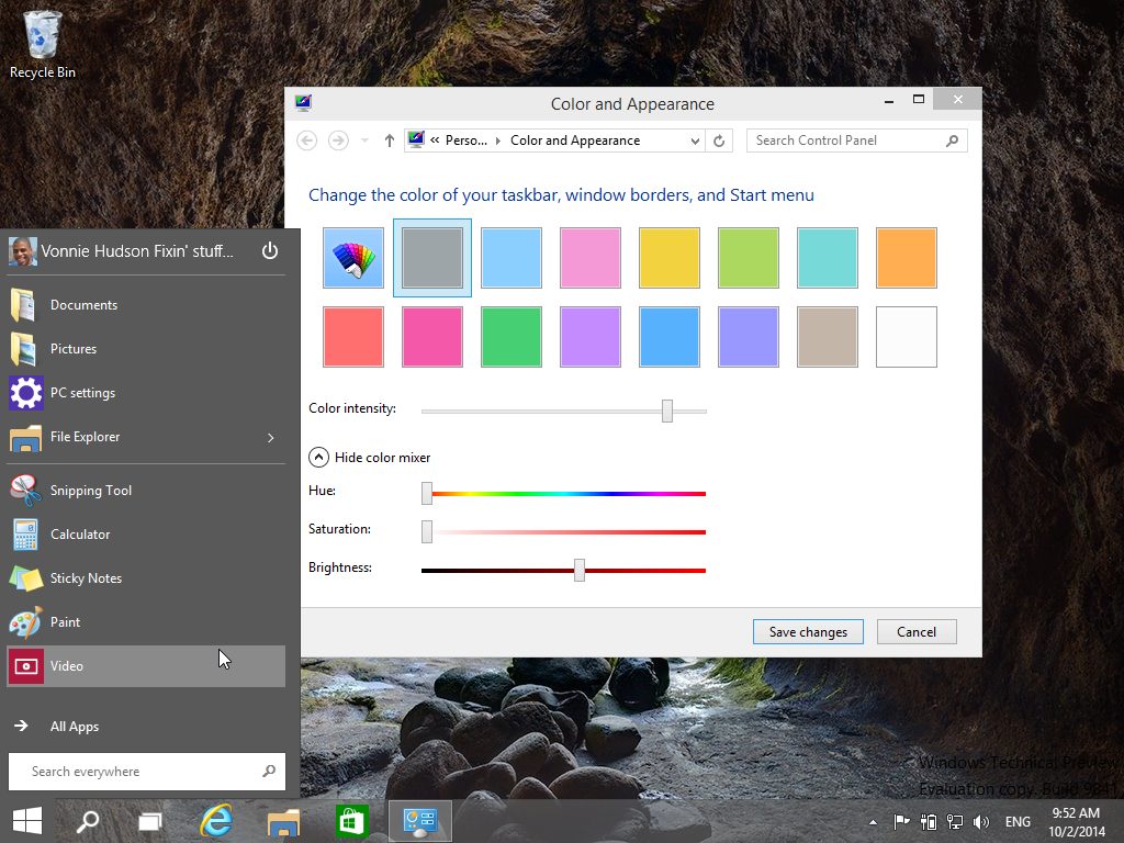 Changing the color and appearance of the Start Menu in Windows 10