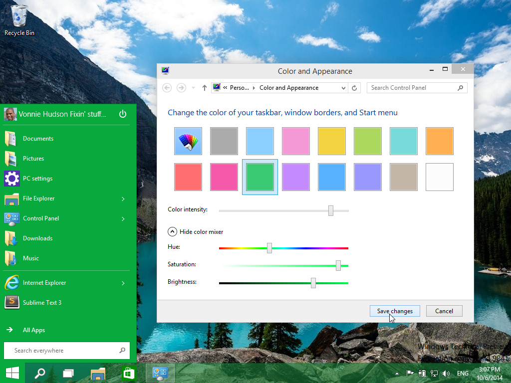 Changing the color and appearance of the Windows 10 Start Menu