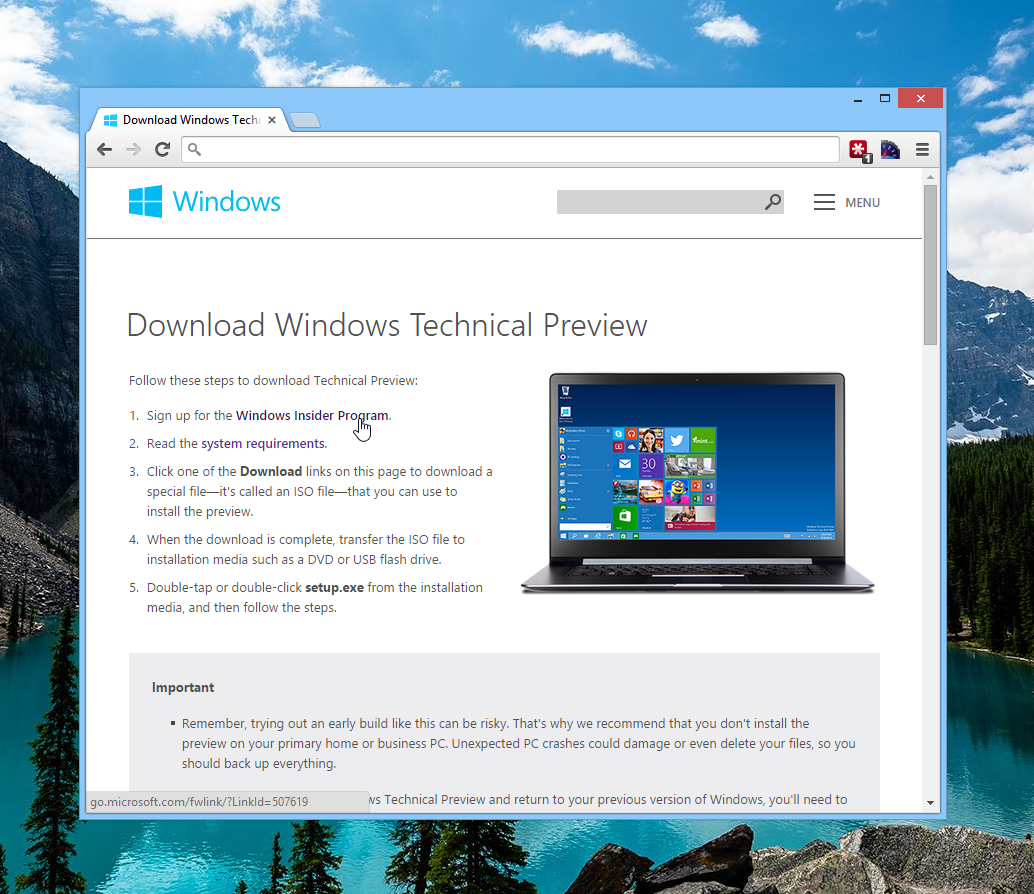 Download Windows Technical Preview