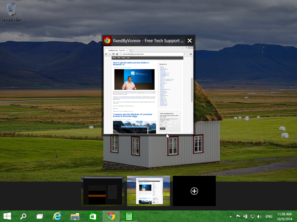Windows 10 Task View button switching tasks