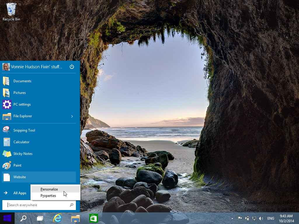Personalizing the Start Menu in Windows 10