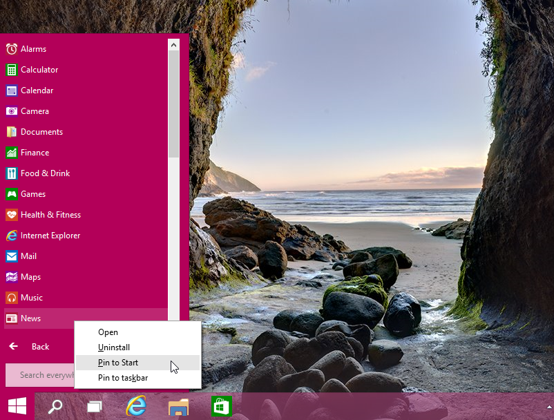 Pinning tiles to the Start Menu in Windows 10