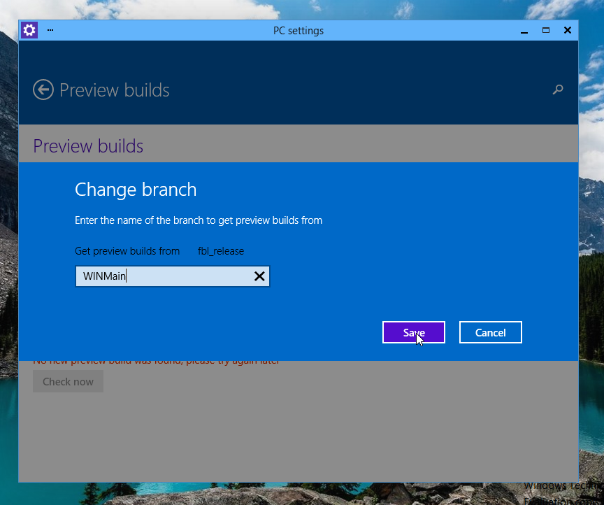Change branch of the preview builds