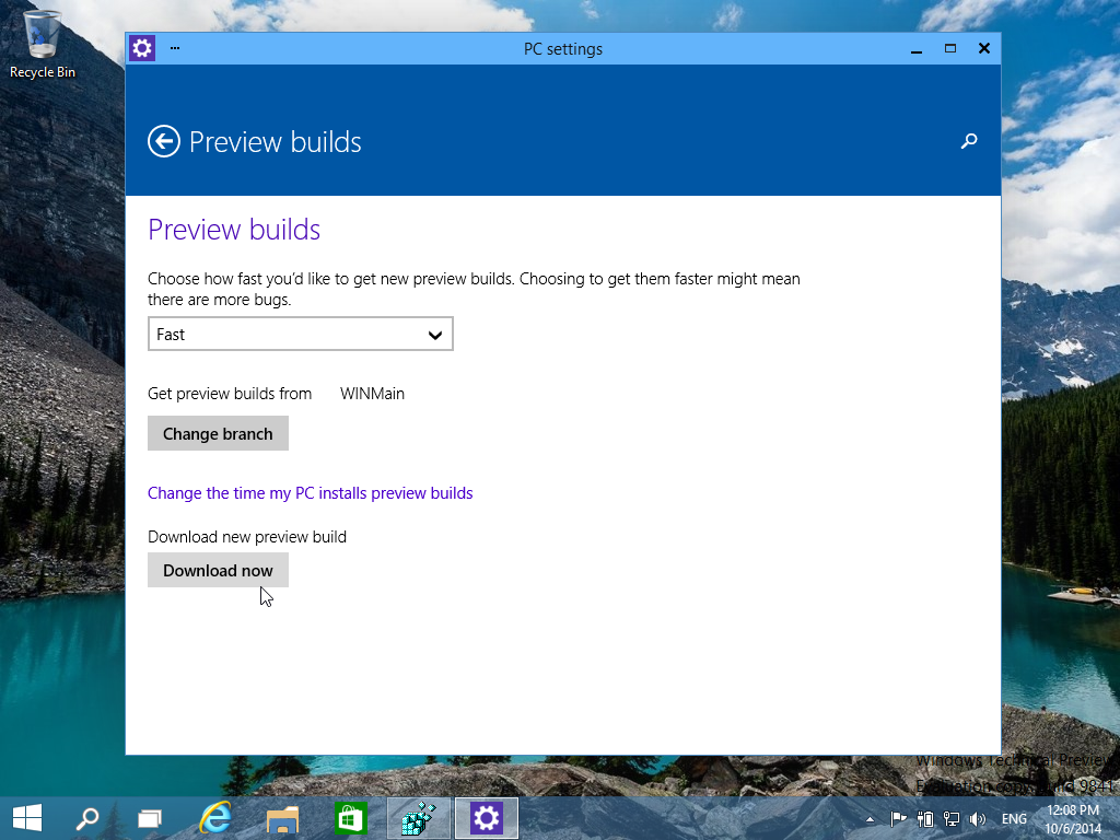 Download Windows 10 Preview builds