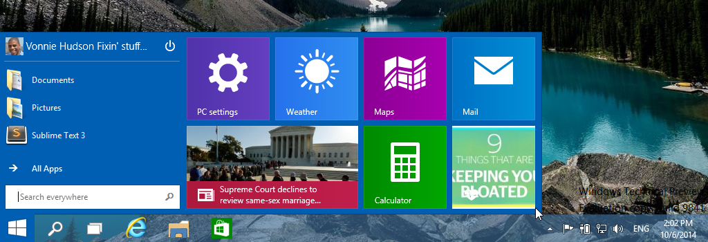 Welcome to your new resized start menu in Windows 10