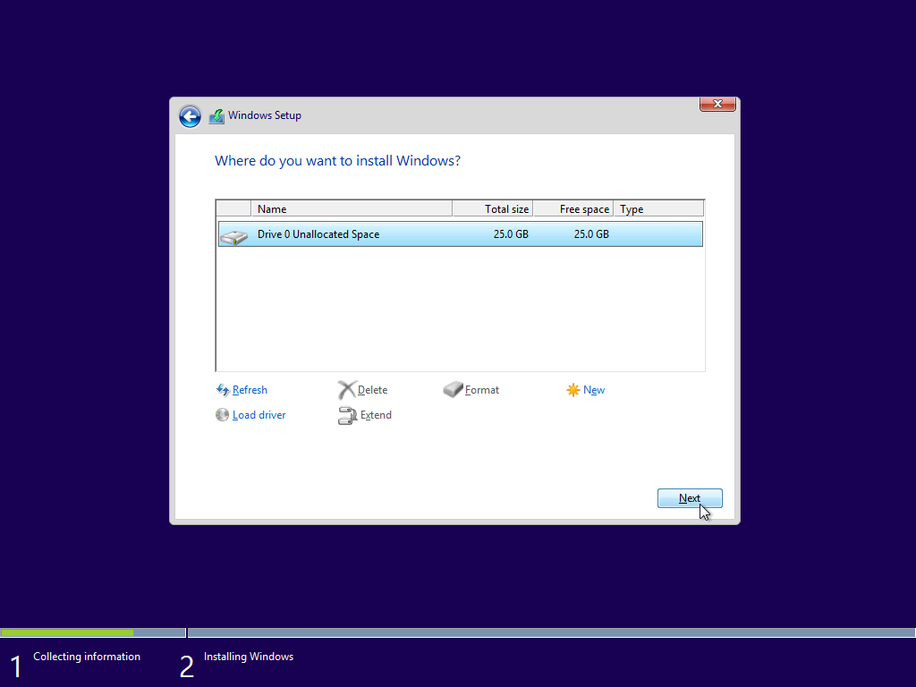 Install Windows 10 Technical Preview on Drive 0 unallocated space