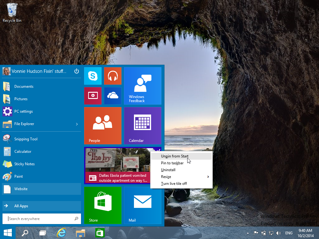 Unpinning live tiles from the Start Menu in Windows 10