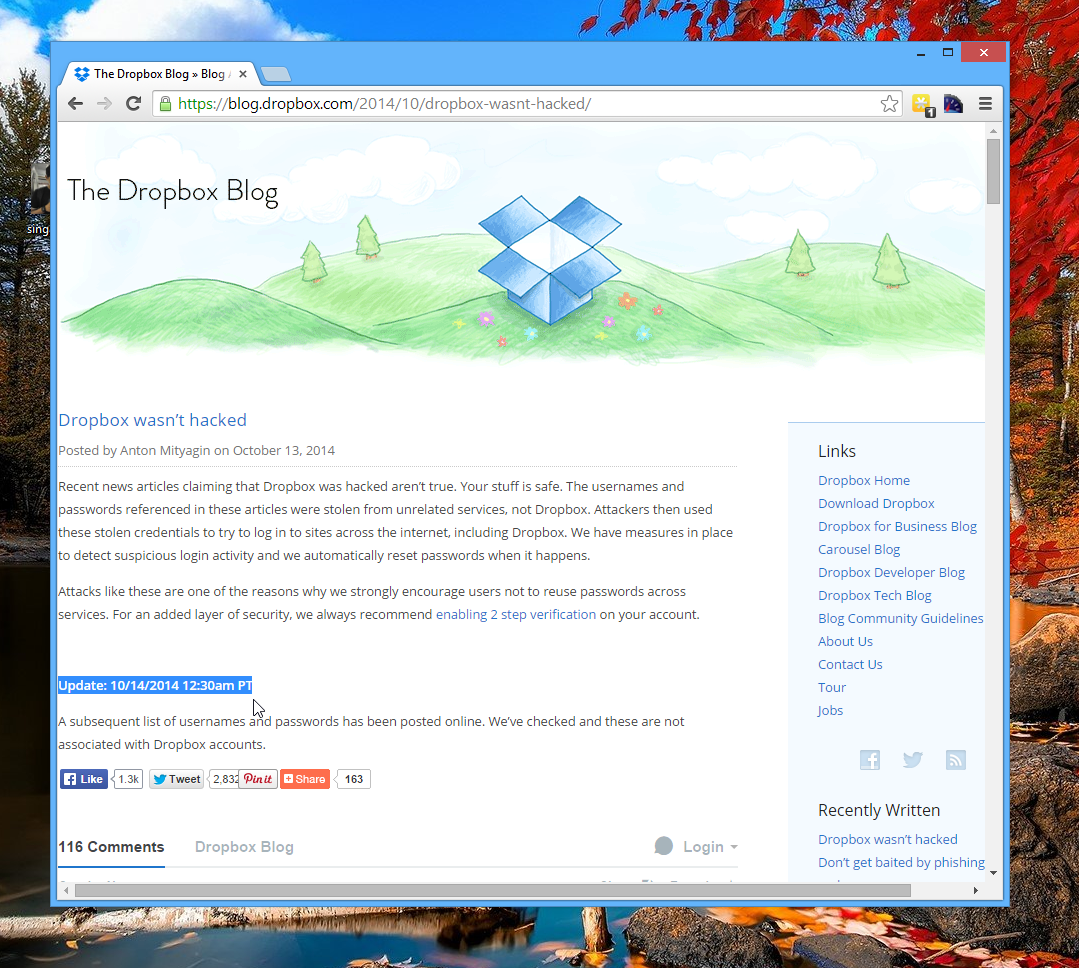 The Dropbox Blog.  Dropbox wasn't hacked