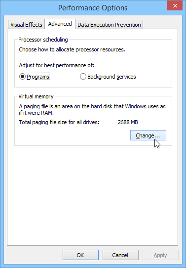 Advanced Performance Options in Windows 8.1