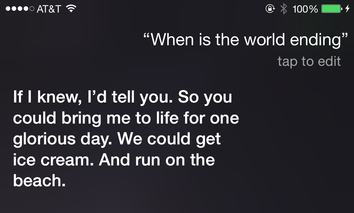 Ask Siri when the world is ending