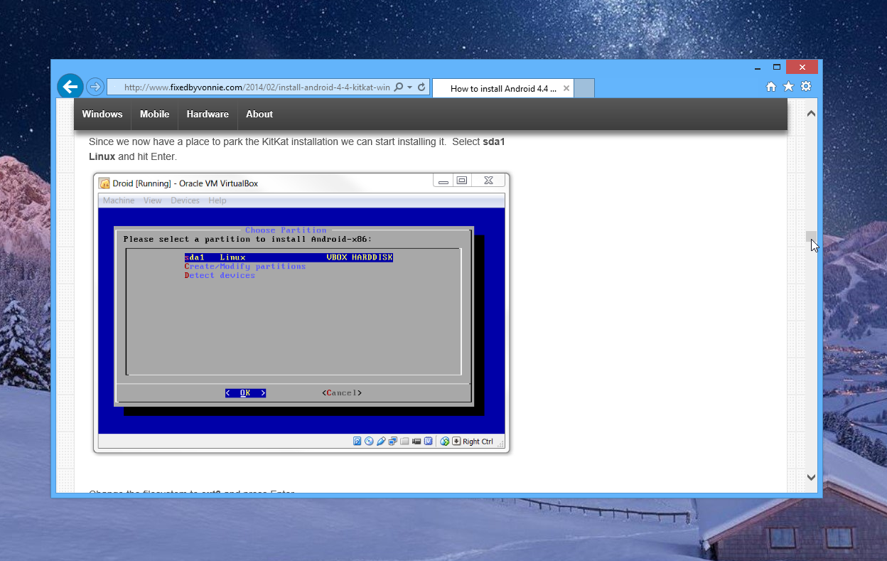 How to install Android 4.4 Kit Kat in VirtualBox