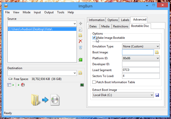 Making a bootable ISO in ImgBurn