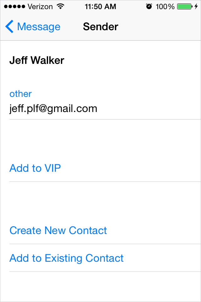 Adding a email sender to contacts in iOS 8.1