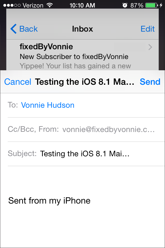 Minimizing the compose email in iOS 8.1