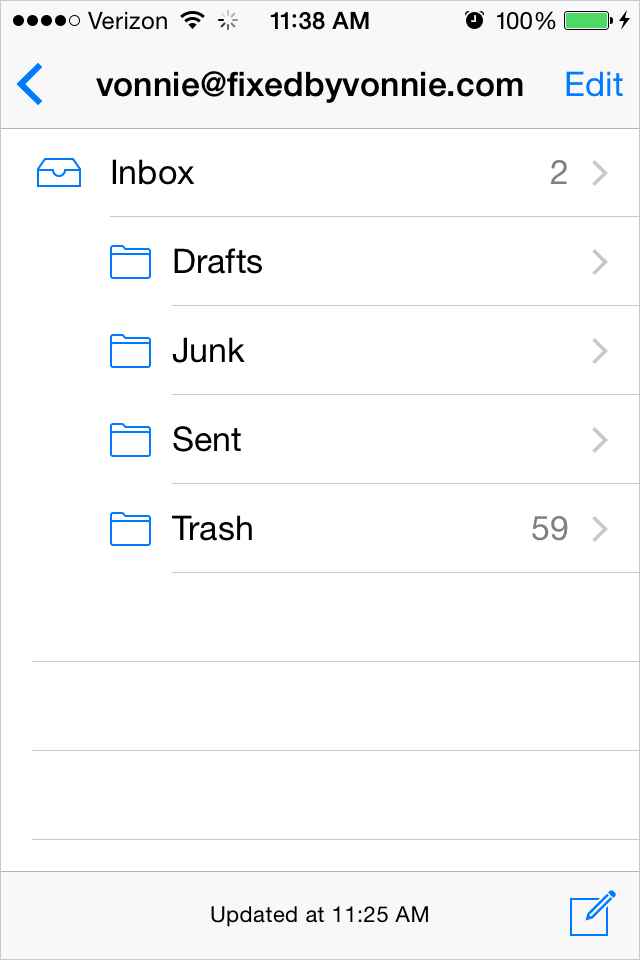 Recovering trashed emails in iOS 8.1