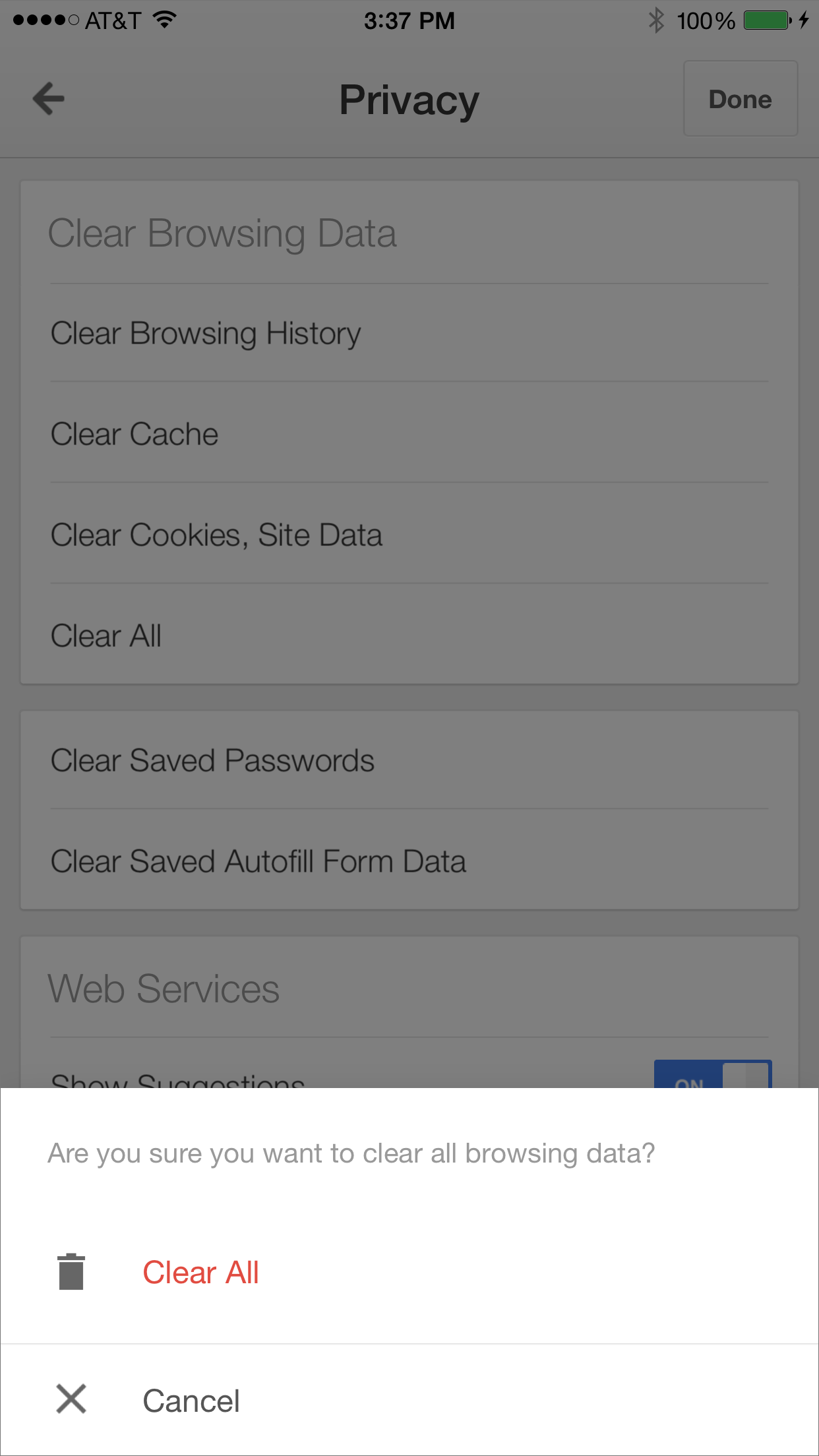 Clearing the Chrome cache on your iPhone