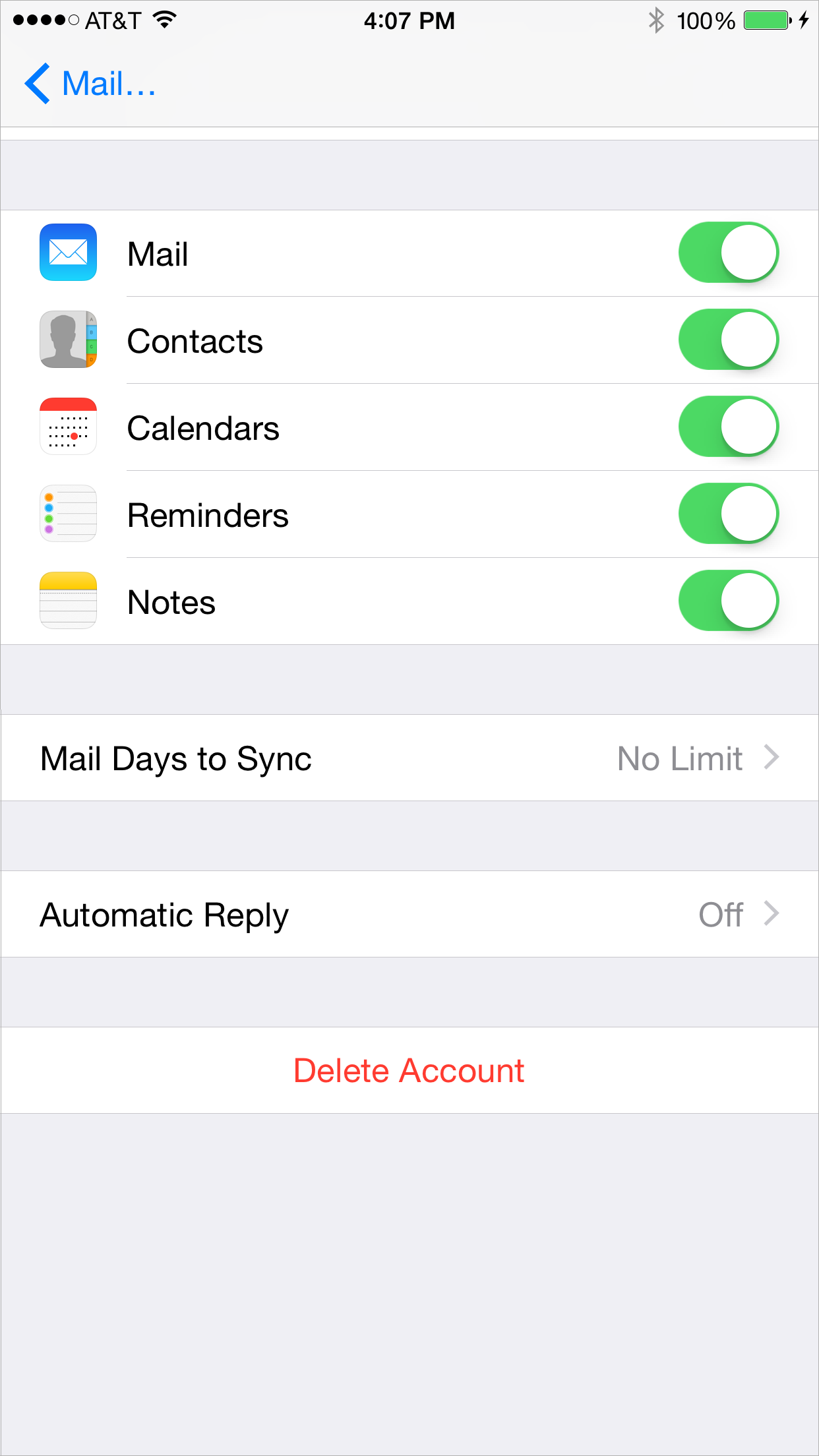Changing the iPhone mail days to sync value