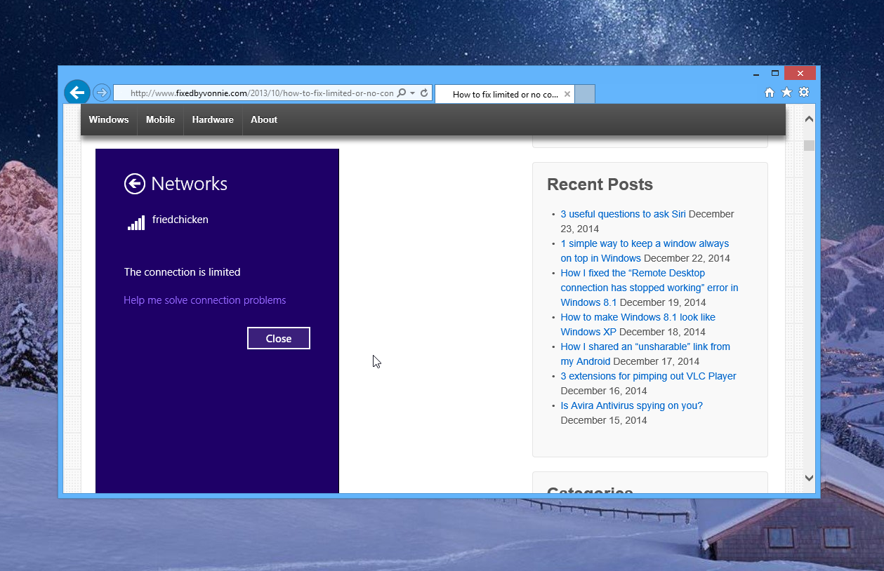 Limited or no wi-fi connectivity in Windows 8.1