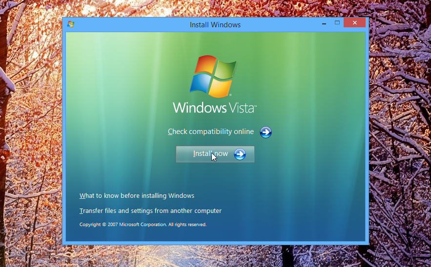 Windows Vista Installation Screen