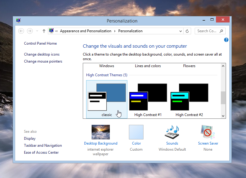 Selecting the classic theme in Windows 8.1