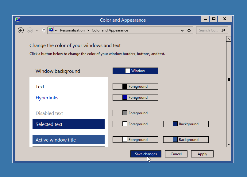 Changing the Color and Appearance in Windows 8.1
