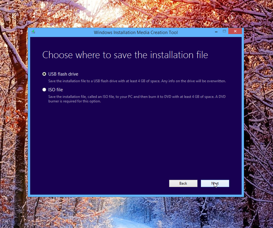 Windows Installation Media Creation Tool:  Save the installation file