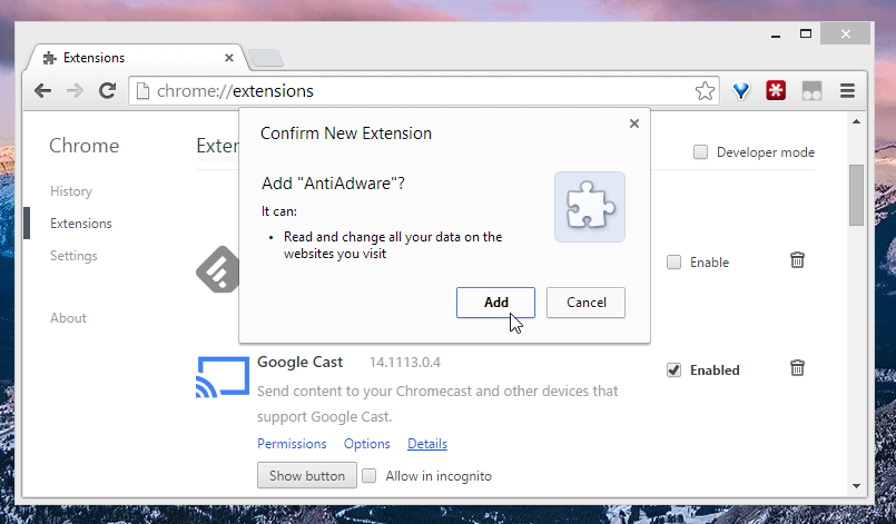 Chrome faithfully warning you about permissions