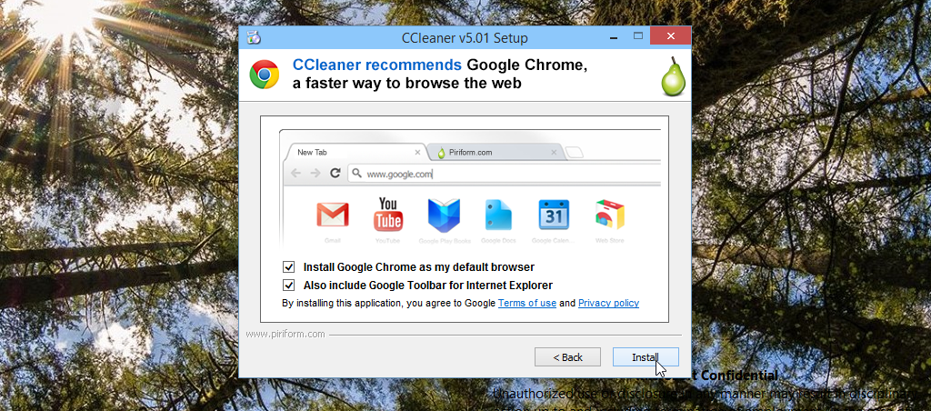 Installed Google Chrome and Google Toolbar by accident