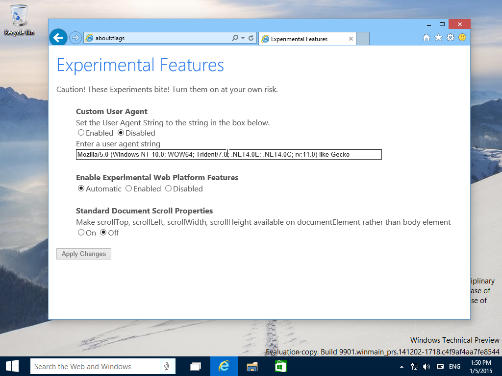 Experimental Features in IE11