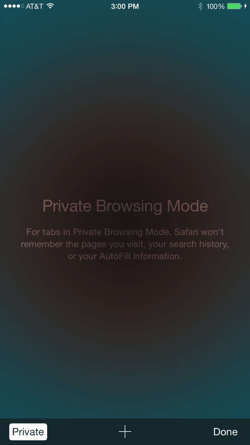 Private mode in Safari