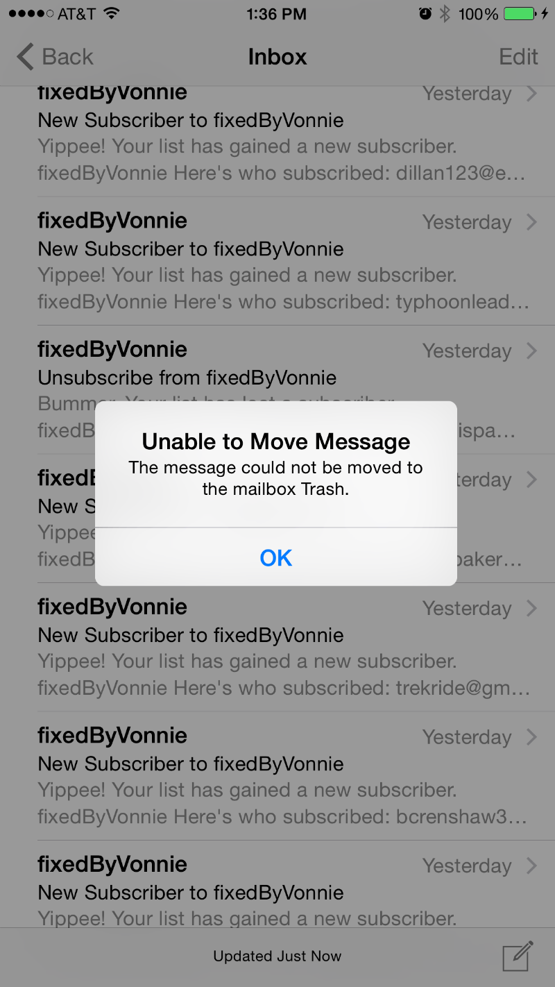 Unable to Move Message.  The message could not be moved to the mailbox Trash